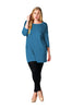3/4 Sleeve Pocket Front Button Back Tunic Top | 30% Off First Order | Teal