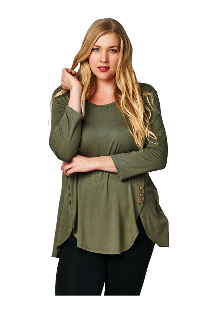 6 Button Detail Tulip Hem Long Sleeve Tunic Top | 30% Off First Order | Olive