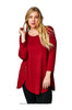 6 Button Detail Tulip Hem Long Sleeve Tunic Top | 30% Off First Order | Burgundy
