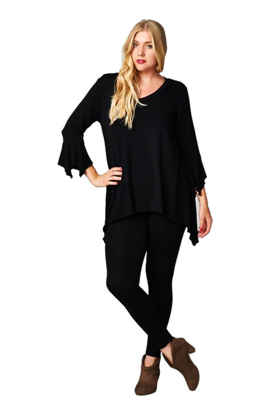 3/4 Sleeve Tunic Dress W/ Asymmetric Hem | 30% Off First Order | Black
