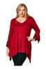 3/4 Sleeve Tunic Dress W/ Asymmetric Hem | 30% Off First Order | Burgundy