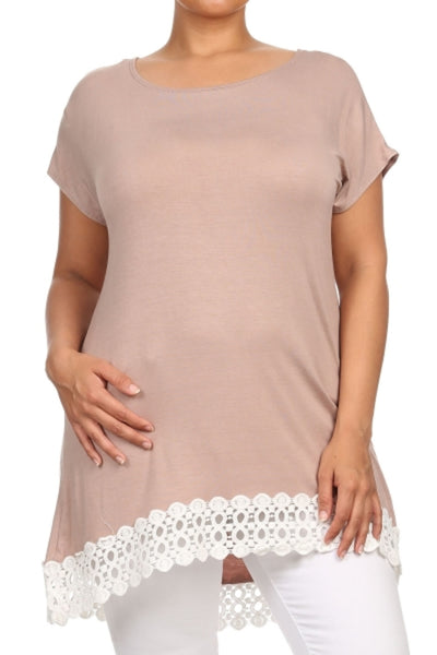 Cap Sleeve Crochet Lace Trimmed Tunic Top - BodiLove | 30% Off First Order - 1
