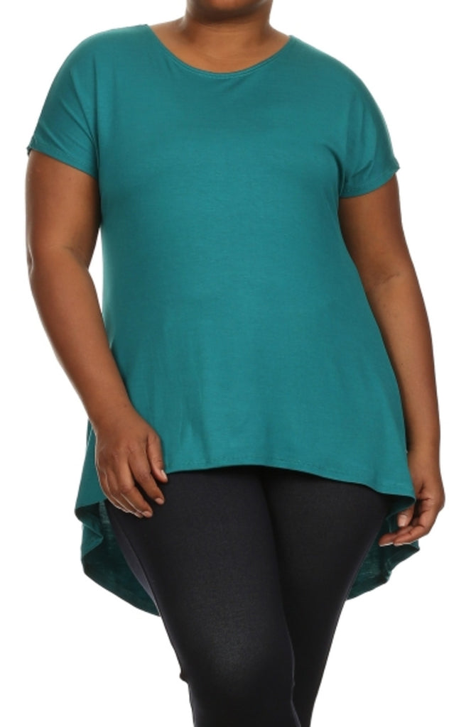 Trendy Short Sleeve Hi-Low Tunic Top - BodiLove | 30% Off First Order - 48