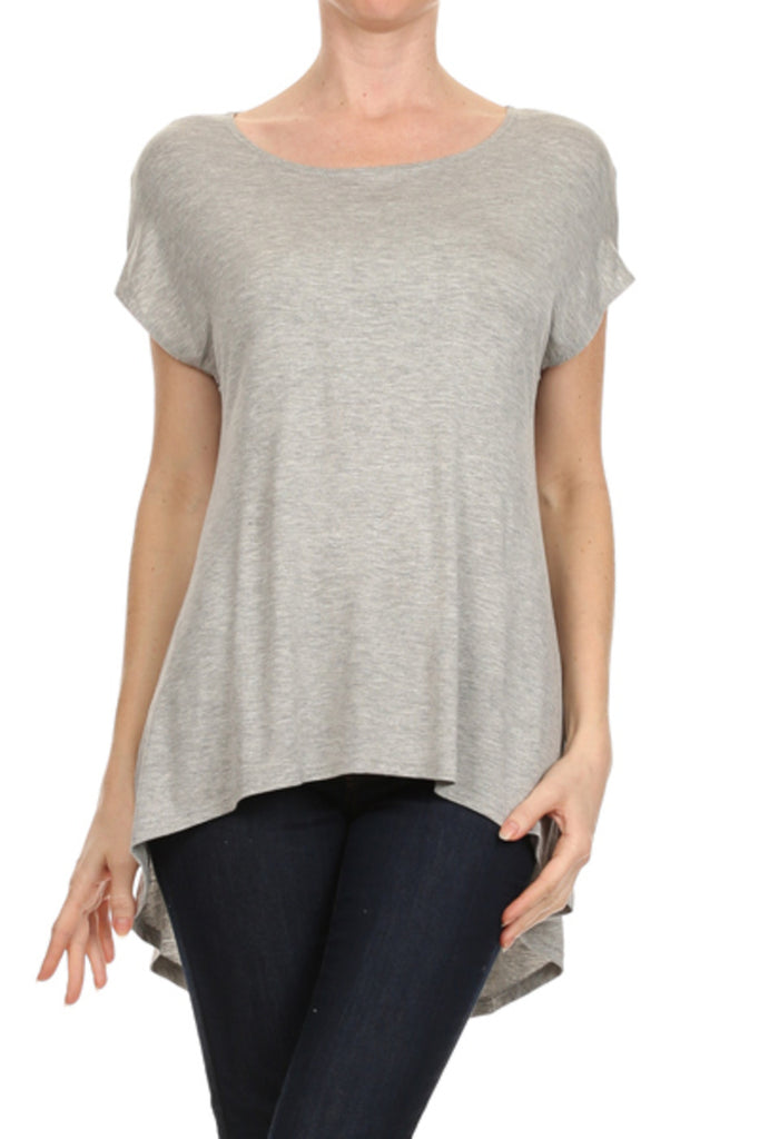 Trendy Short Sleeve Hi-Low Tunic Top - BodiLove | 30% Off First Order - 5
