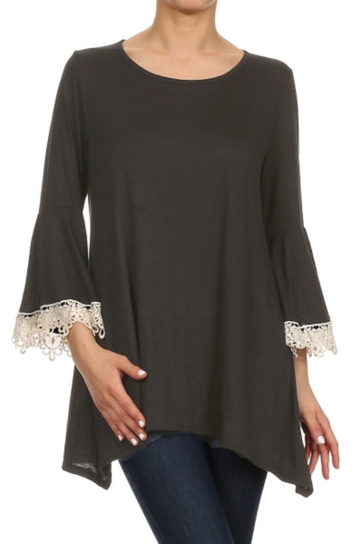 3/4 Sleeve Crochet Trimmed Tunic Top - BodiLove | 30% Off First Order - 1 | Black1