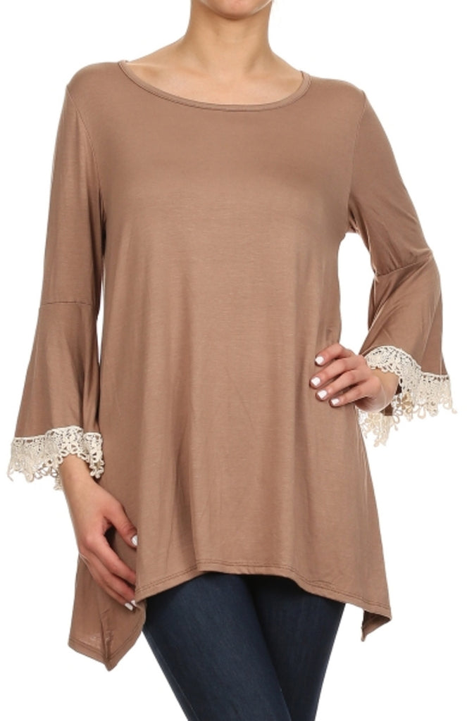 3/4 Sleeve Crochet Trimmed Tunic Top - BodiLove | 30% Off First Order - 26 | Mocha