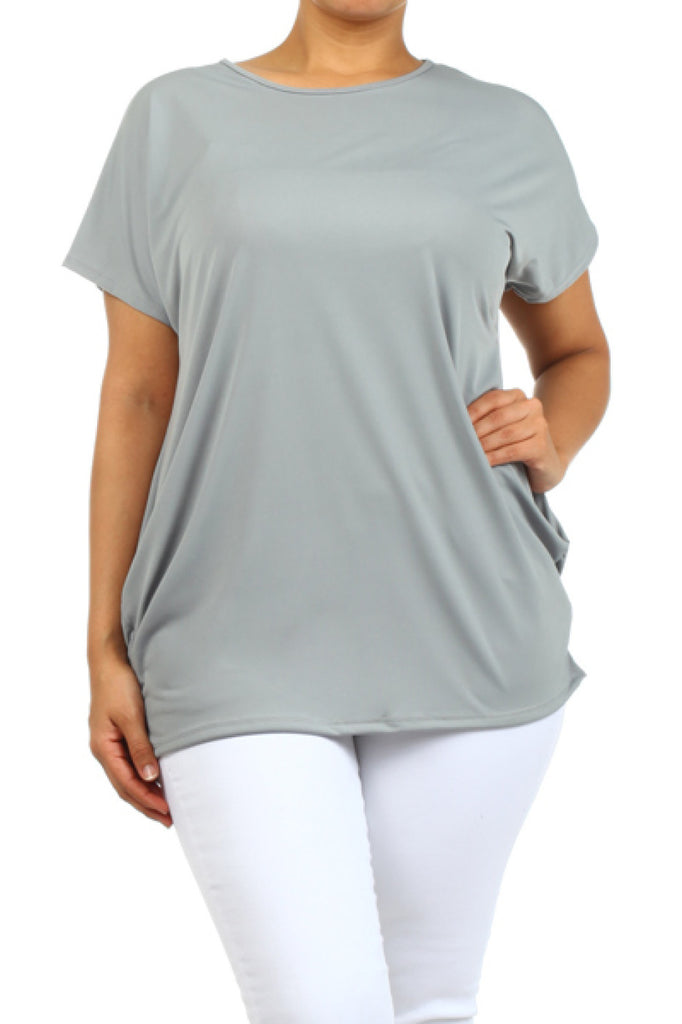 Short Sleeve T-Shirt W/ Ruched Sideseams | 30% Off First Order | Grey