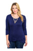 3/4 Sleeve Hi-Low Knit Tunic Top - BodiLove | 30% Off First Order  - 3