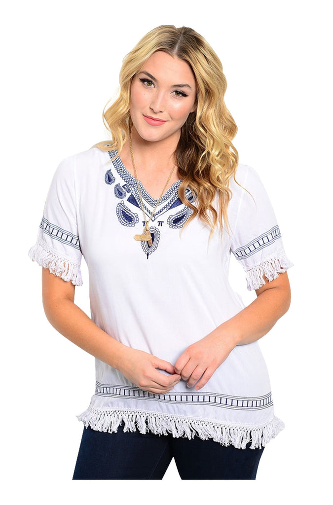 Short Sleeve Blouse W/ Embroidered Neckline - BodiLove | 30% Off First Order - 7