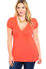 Dressy Cap Sleeve V-Neck Hi Low Knit Top - BodiLove | 30% Off First Order - 5 | Rust