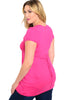 Dressy Cap Sleeve V-Neck Hi Low Knit Top - BodiLove | 30% Off First Order - 4 | Fuchsia