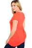 Dressy Cap Sleeve V-Neck Hi Low Knit Top - BodiLove | 30% Off First Order - 6 | Rust
