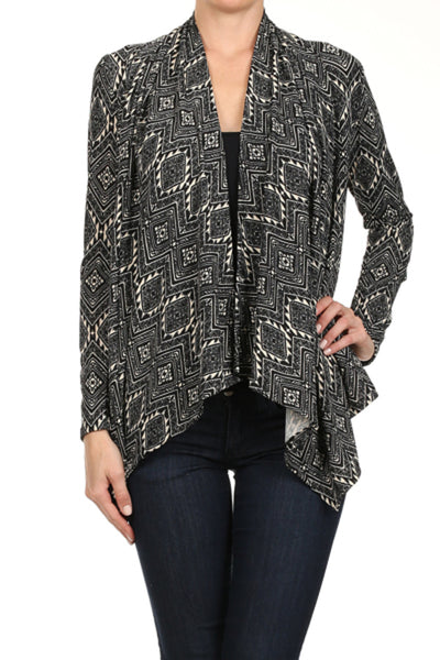 Draped Long Sleeve Open Front Cardigan - BodiLove | 30% Off First Order  - 1