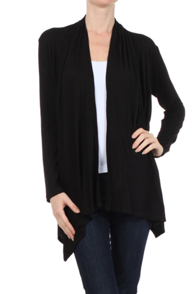 Draped Long Sleeve Open Front Cardigan - BodiLove | 30% Off First Order  - 5