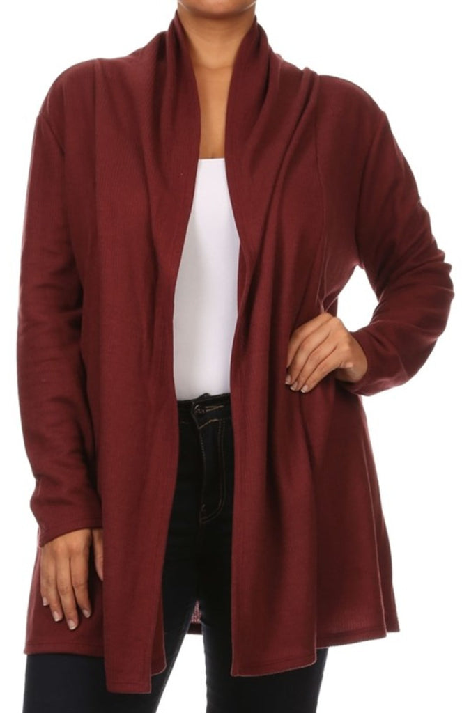 Draped Long Sleeve Open Front Cardigan - BodiLove | 30% Off First Order - 26 | Burgundy