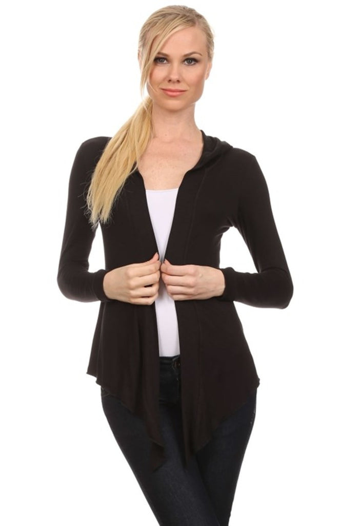 Hooded Long Sleeve Open Front Cardigan - BodiLove | 30% Off First Order - 1 | Black-Hood