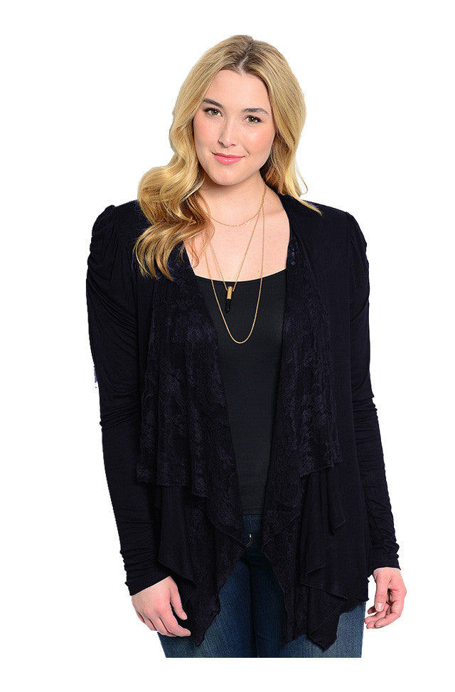 Lace Open Drape Plus Size Cardigan - BodiLove | 30% Off First Order  - 3
