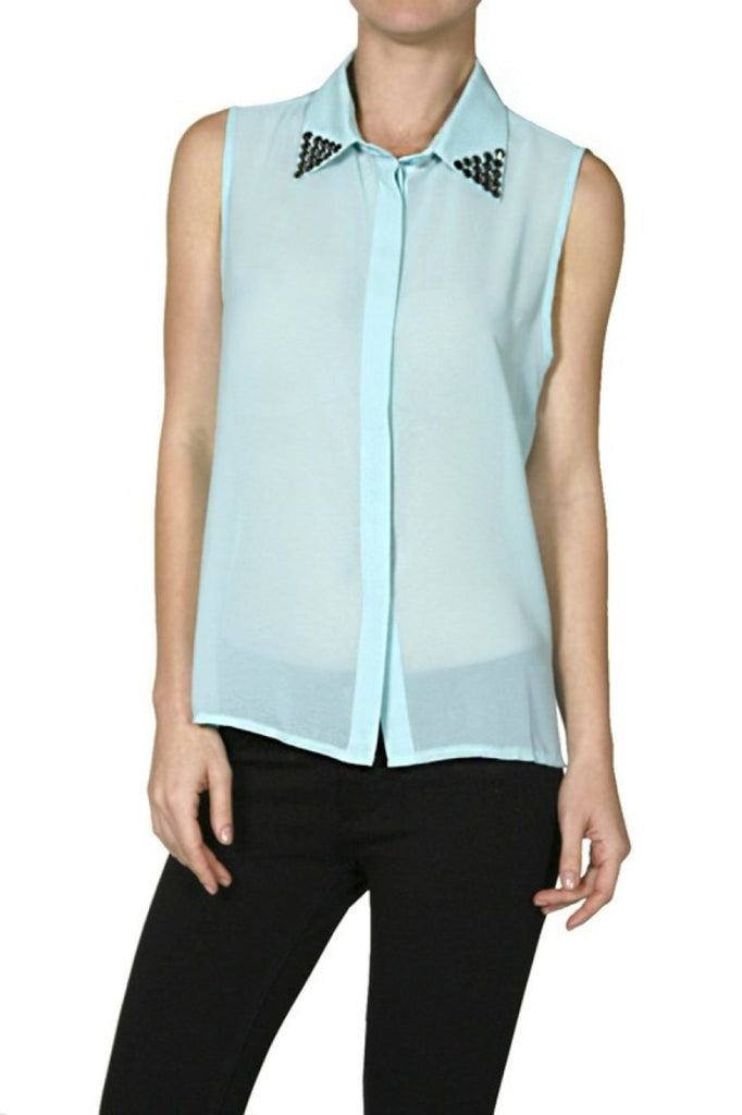 Sleeveless Studded Collar Button Blouse - BodiLove | 30% Off First Order  - 1