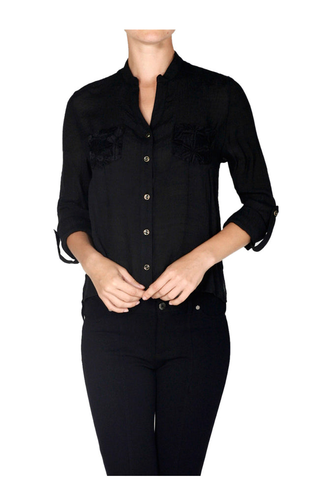 Long Sleeve Lace Back Blouse W/ Back Button Detail - BodiLove | 30% Off First Order  - 1