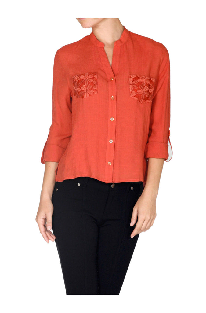 Long Sleeve Lace Back Blouse W/ Back Button Detail - BodiLove | 30% Off First Order  - 22