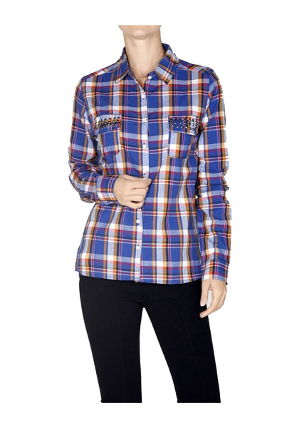 Fitted Plaid Button Down Shirt W/ Studded Pockets - BodiLove | 30% Off First Order  - 1