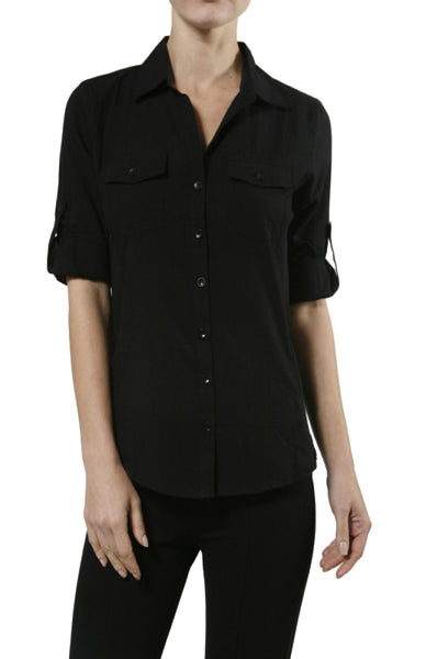 3/4 Sleeve Cotton Button Down Blouse - BodiLove | 30% Off First Order  - 1