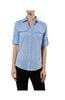 3/4 Sleeve Cotton Button Down Blouse - BodiLove | 30% Off First Order  - 2
