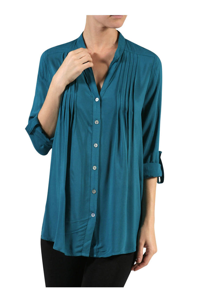 3/4 Sleeve Pleated Button Up Blouse - BodiLove | 30% Off First Order  - 17