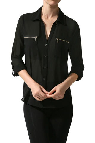 3/4 Sleeve Button Down Blouse W/ Zipper Pockets