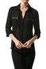 3/4 Sleeve Button Down Blouse W/ Zipper Pockets - BodiLove | 30% Off First Order  - 1