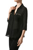 3/4 Sleeve Button Down Blouse W/ Zipper Pockets - BodiLove | 30% Off First Order  - 2