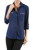 3/4 Sleeve Button Down Blouse W/ Zipper Pockets - BodiLove | 30% Off First Order  - 7