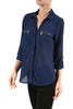 3/4 Sleeve Button Down Blouse W/ Zipper Pockets - BodiLove | 30% Off First Order  - 8
