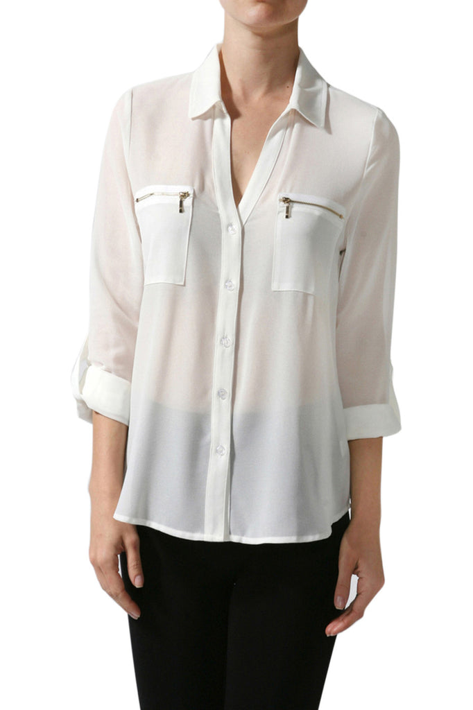 3/4 Sleeve Button Down Blouse W/ Zipper Pockets - BodiLove | 30% Off First Order  - 4