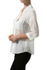 3/4 Sleeve Button Down Blouse W/ Zipper Pockets - BodiLove | 30% Off First Order  - 5