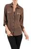 3/4 Sleeve Button Down Blouse W/ Zipper Pockets - BodiLove | 30% Off First Order  - 12