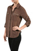 3/4 Sleeve Button Down Blouse W/ Zipper Pockets - BodiLove | 30% Off First Order  - 13