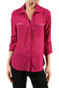 3/4 Sleeve Button Down Blouse W/ Zipper Pockets - BodiLove | 30% Off First Order  - 15