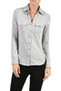Long-Sleeve, 2-Pocket, Button-Down Stretch Shirt | 30% Off First Order | Light Grey