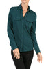 Long-Sleeve, 2-Pocket, Button-Down Stretch Shirt | 30% Off First Order | Teal