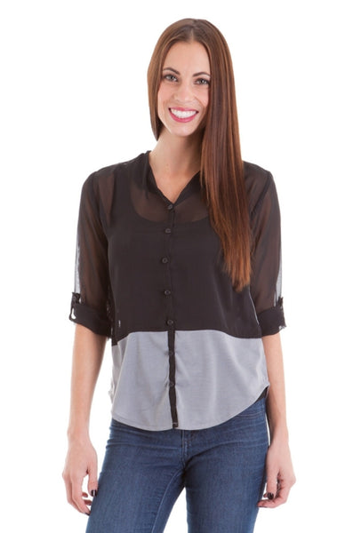Button Down Color Black Top - BodiLove | 30% Off First Order  - 1
