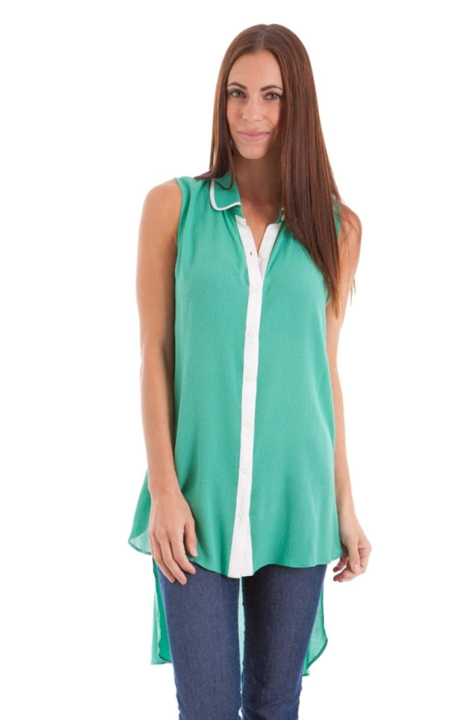 Contrast Button Panel Tail Top - BodiLove | 30% Off First Order  - 3
