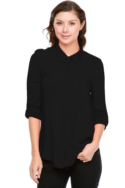 Dressy Long Sleeve Button Down Blouse - BodiLove | 30% Off First Order  - 1
