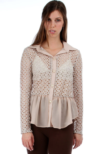 Crochet Button Down Peplum Shirt - BodiLove | 30% Off First Order  - 1