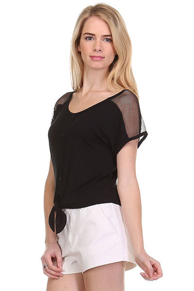 Short Sleeve Tie Front Top W/ Sheer Yoke - BodiLove | 30% Off First Order  - 1