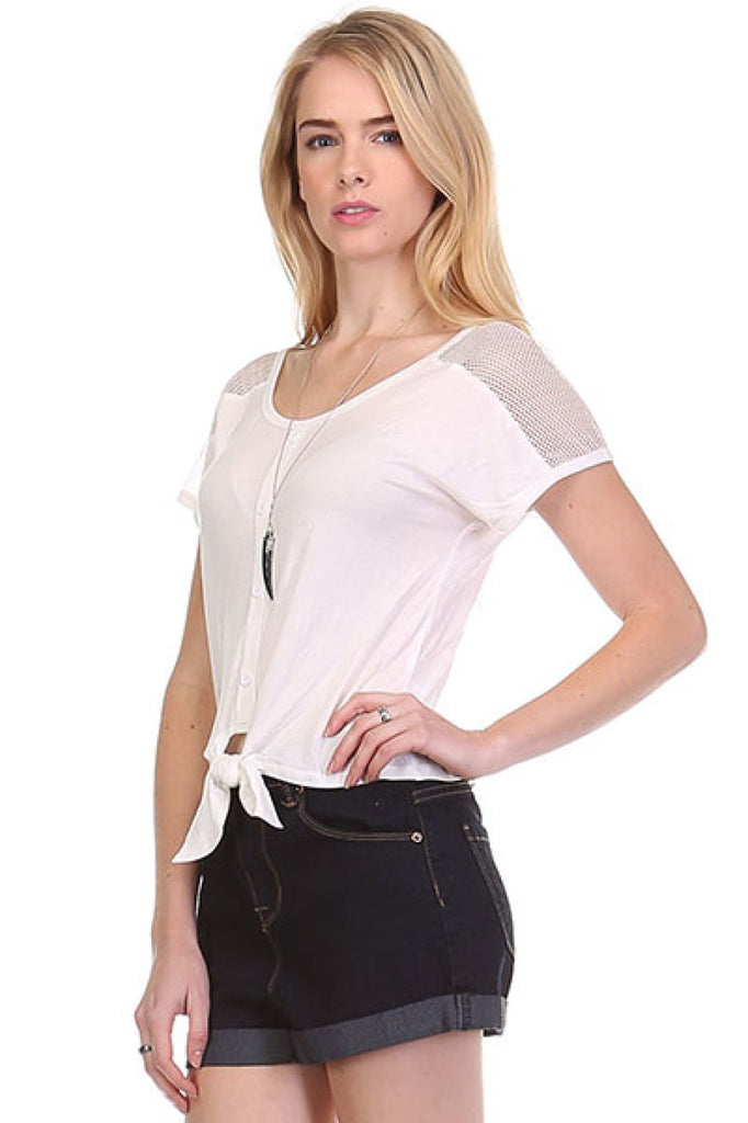 Short Sleeve Tie Front Top W/ Sheer Yoke - BodiLove | 30% Off First Order  - 11
