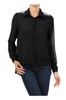 Long Sleeve Jeweled Shoulder Blouse | 30% Off First Order | Black1