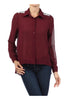 Long Sleeve Jeweled Shoulder Blouse | 30% Off First Order | Burgundy