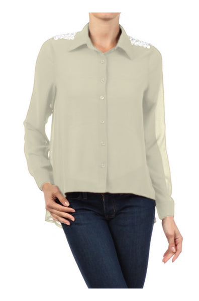 Long Sleeve Jeweled Shoulder Blouse | 30% Off First Order | Cream-1