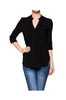 3/4 Sleeve Pleated Button Down Hi-Low Blouse | 30% Off First Order | Black1